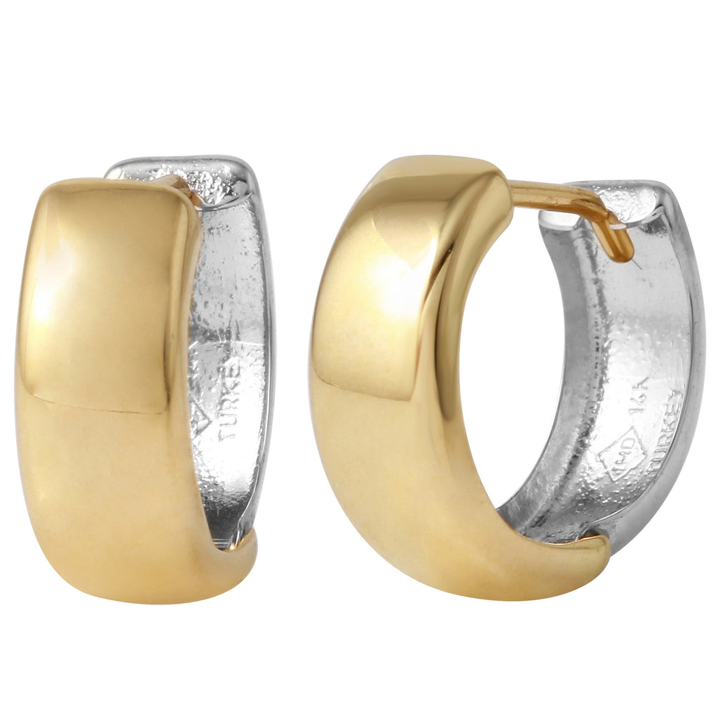 14k Two-Tone Gold High Polished Huggie Earrings