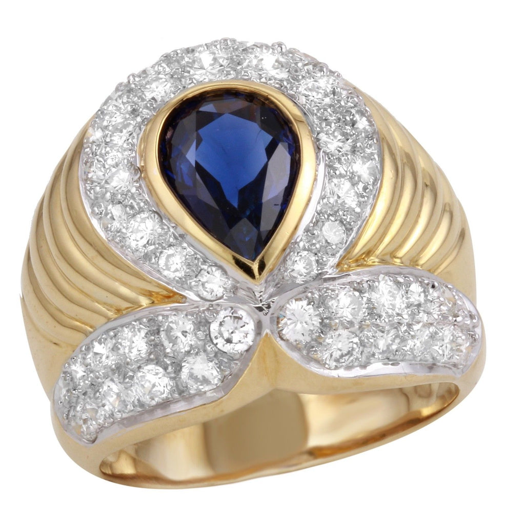 Women's Diamond Sapphire 18k Yellow Gold Ring