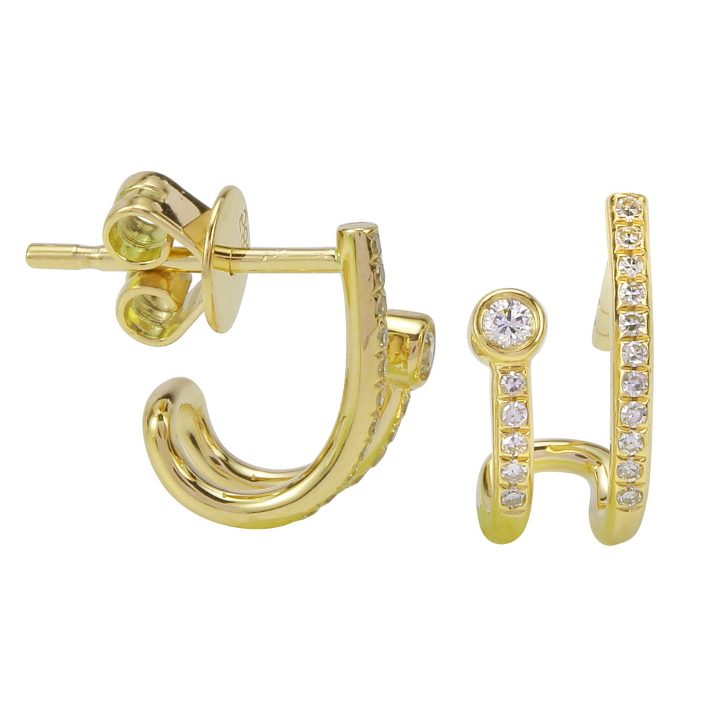 14k Yellow Gold Round Diamond Bezel Curved Stud Earrings (1/10 cttw, H-I Color, I2-I3 Clarity)