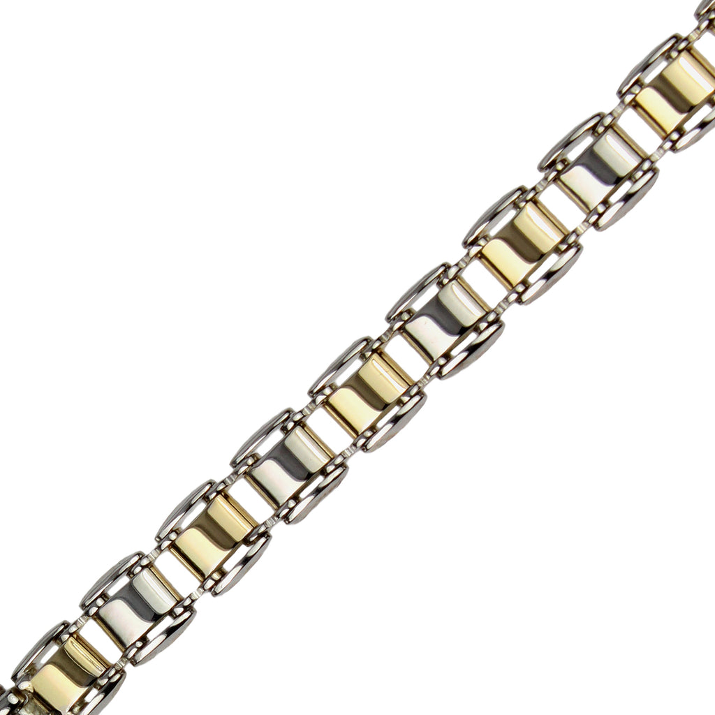 Men's 14k Gold-Bonded Sterling Silver Two-Tone 6.3mm Link Bracelet, 8""