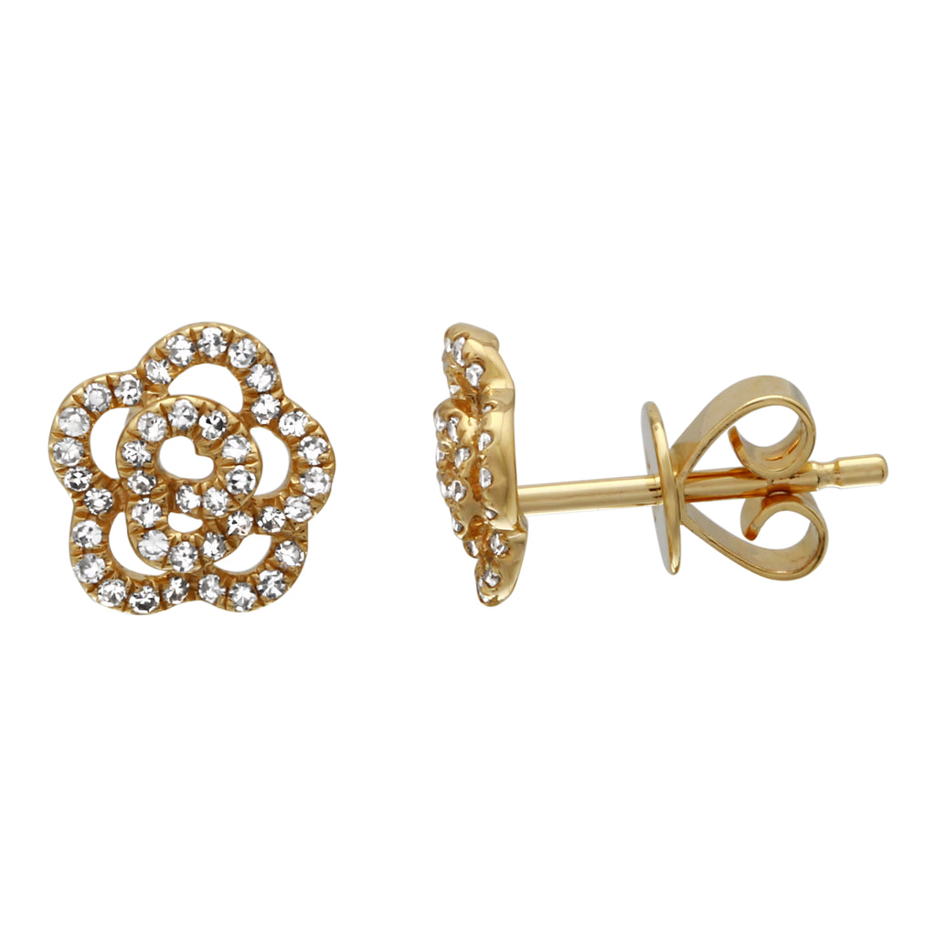 14k Yellow Gold Diamond Dimensional Flower Stud Earrings (1/5 cttw, I-J Color, I2-I3 Clarity)