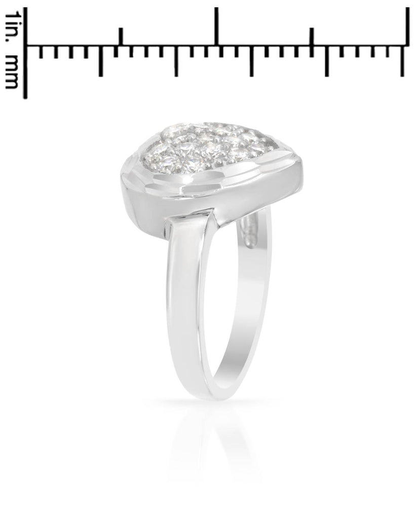 Bevel Framed CZ Heart Ring Sterling Silver