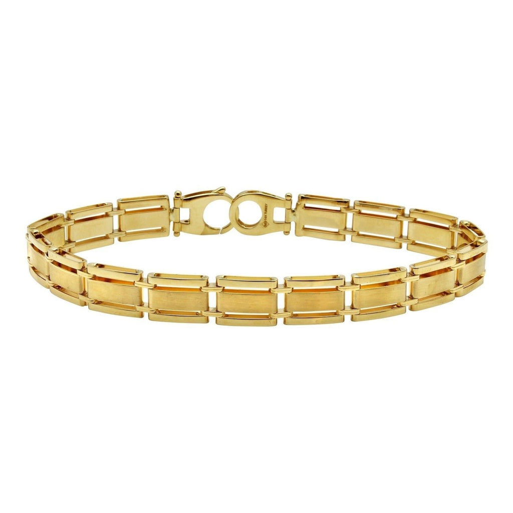 "Men's 14k Yellow Gold Solid Fancy Bracelet, 8.5"" (yellow)"