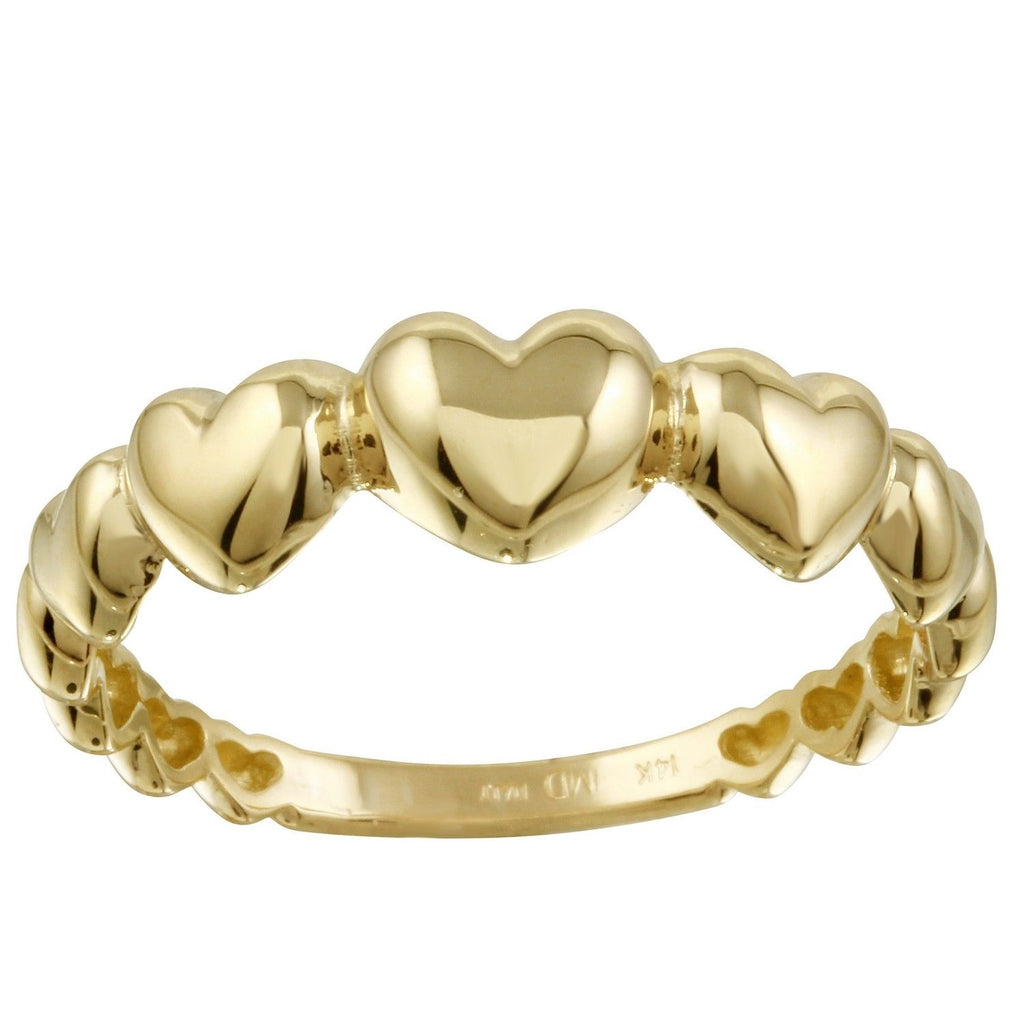14k Yellow Gold Italian High Polish Heart Ring, Size 7