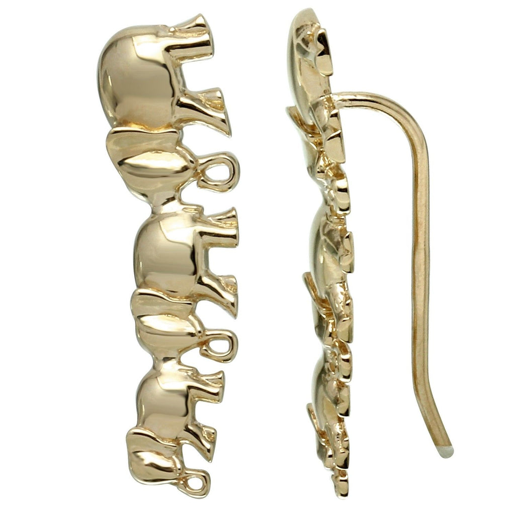 14k Yellow Gold Elephant French Hook Earrings - Bee Jewels