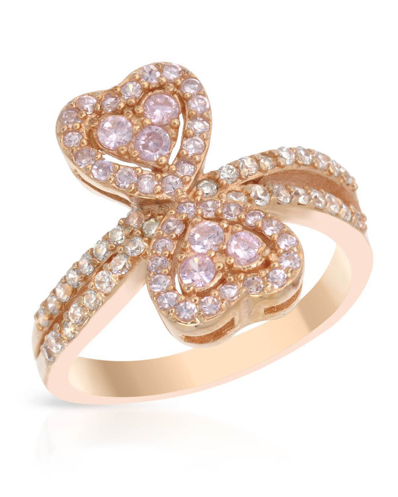 Double Heart Infinity Ring Rose Gold Sterling Silver CZ