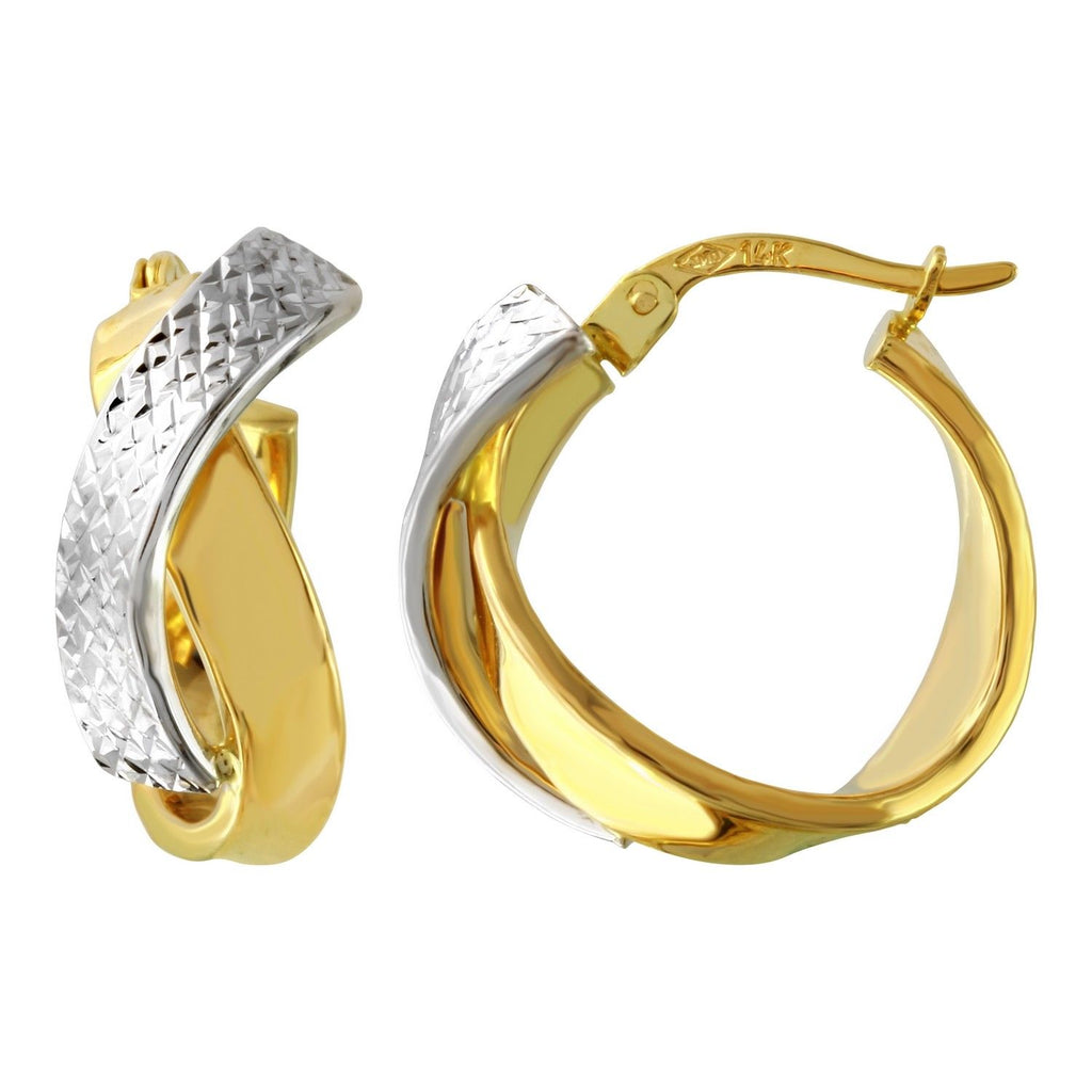 14k Two-Tone Gold Twist Hoop Earrings