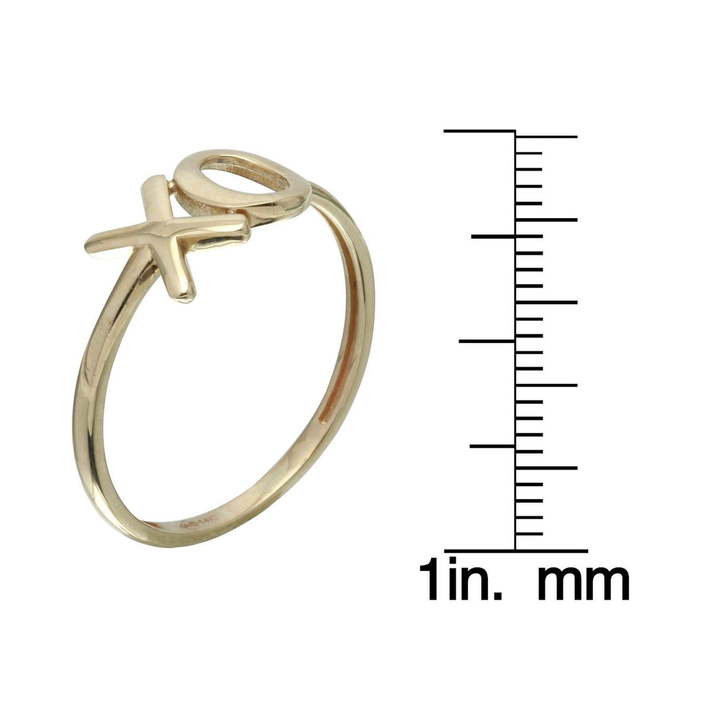 14k Yellow Gold Hugs and Kisses Ring, Size 7