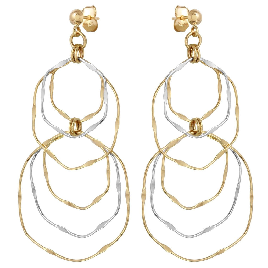 14k Two Tone Gold Wavy Dangle Earrings
