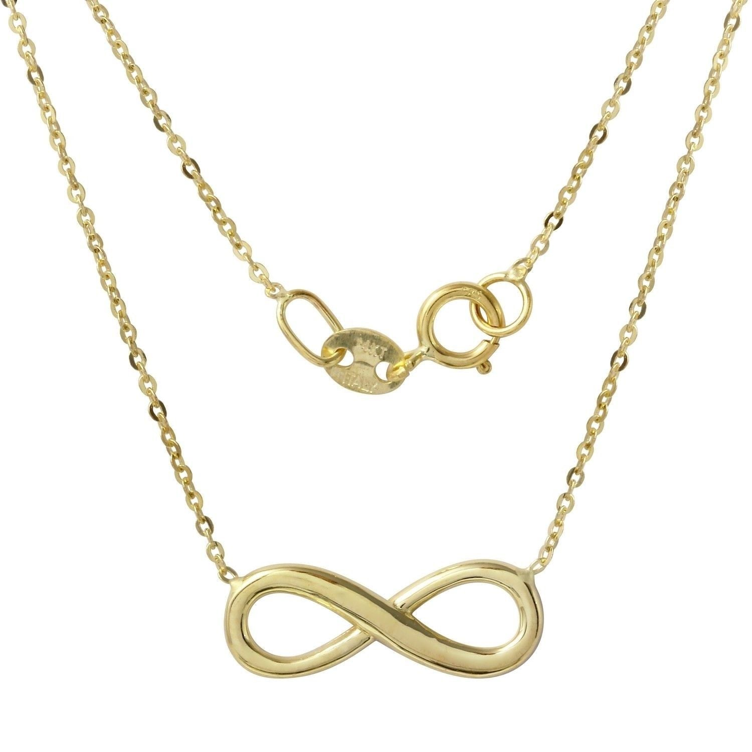 14k Yellow Gold Italian Diamond-Cut Rolo Chain Infinity Necklace, 16