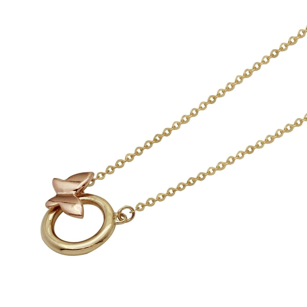 "14k Two-Tone Gold Circle Butterfly Adjustable Necklace, 16+2"" Extender"
