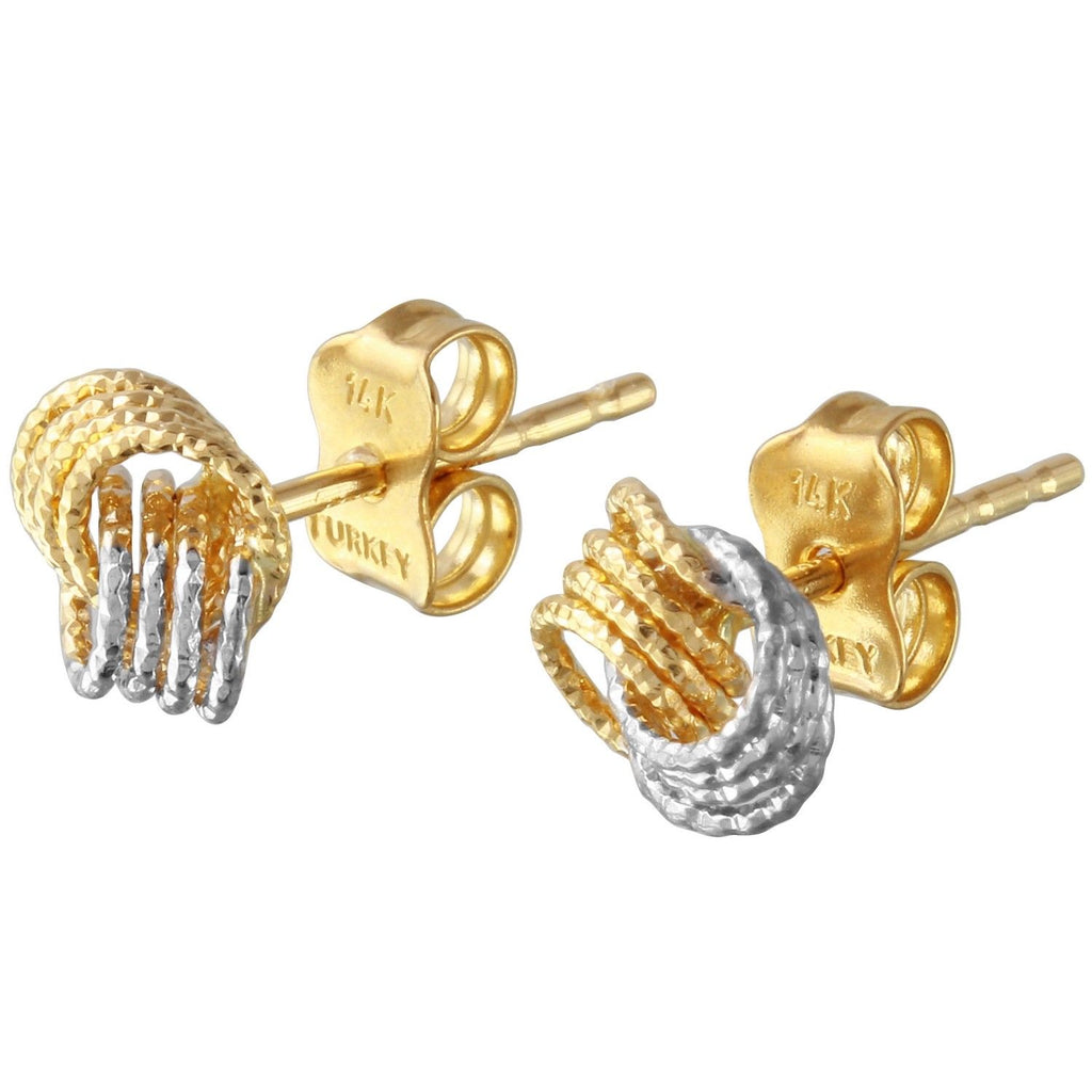 14k Two-Tone Gold Knot Stud Earrings