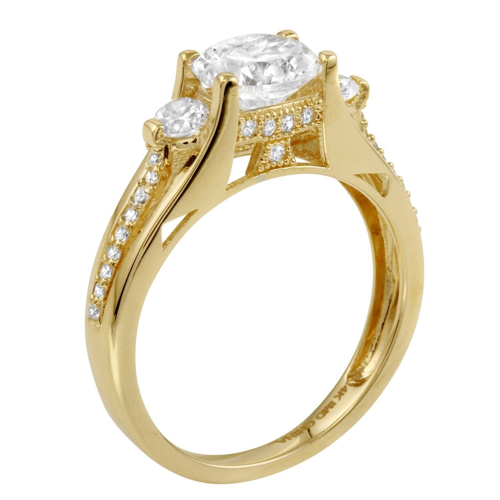 14k Gold CZ Round Brilliant 3-Stone Wedding Ring - Bee Jewels