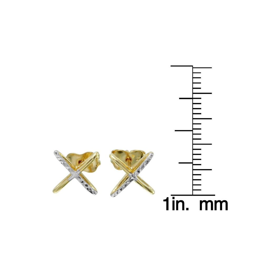 14k Two-Tone Gold X-Design Stud Earrings