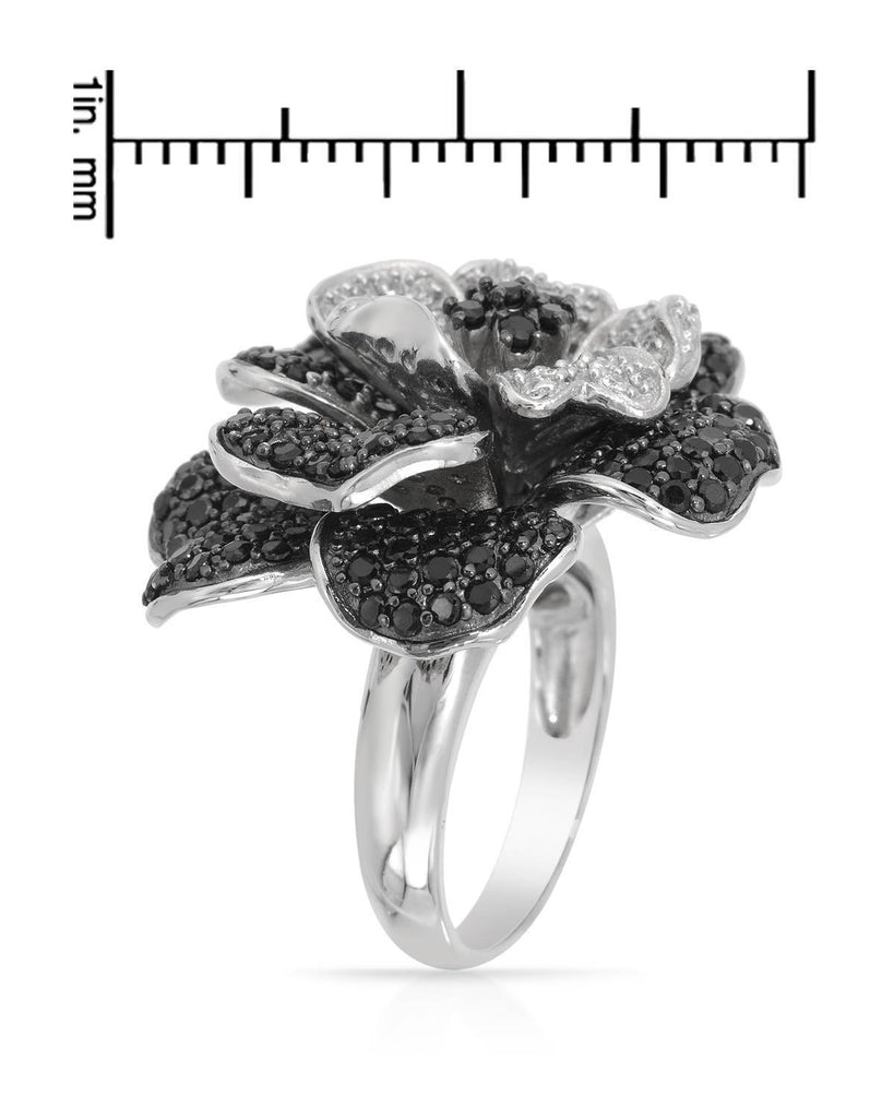 925 CZ Sterling Silver Cubic Zirconia Crystal Flower Ring