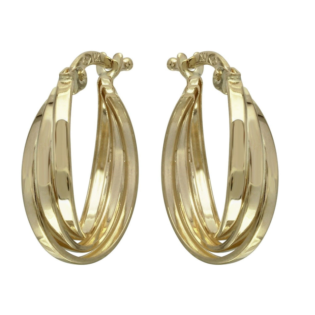 14k Yellow Gold Triple Overlap Hoop Earrings
