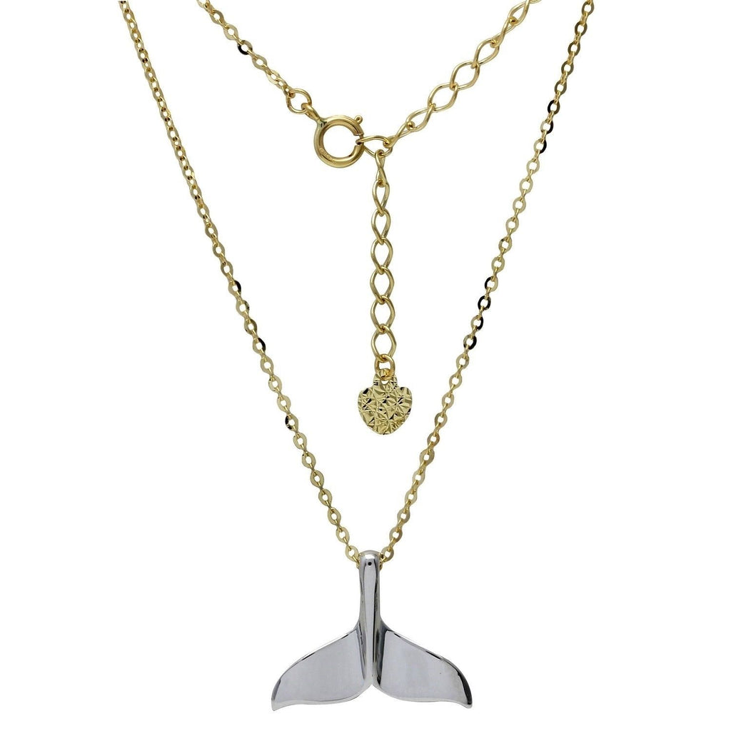 "14k Two-Tone Gold Whale Tail Adjustable Necklace, 16+2"" Extender"