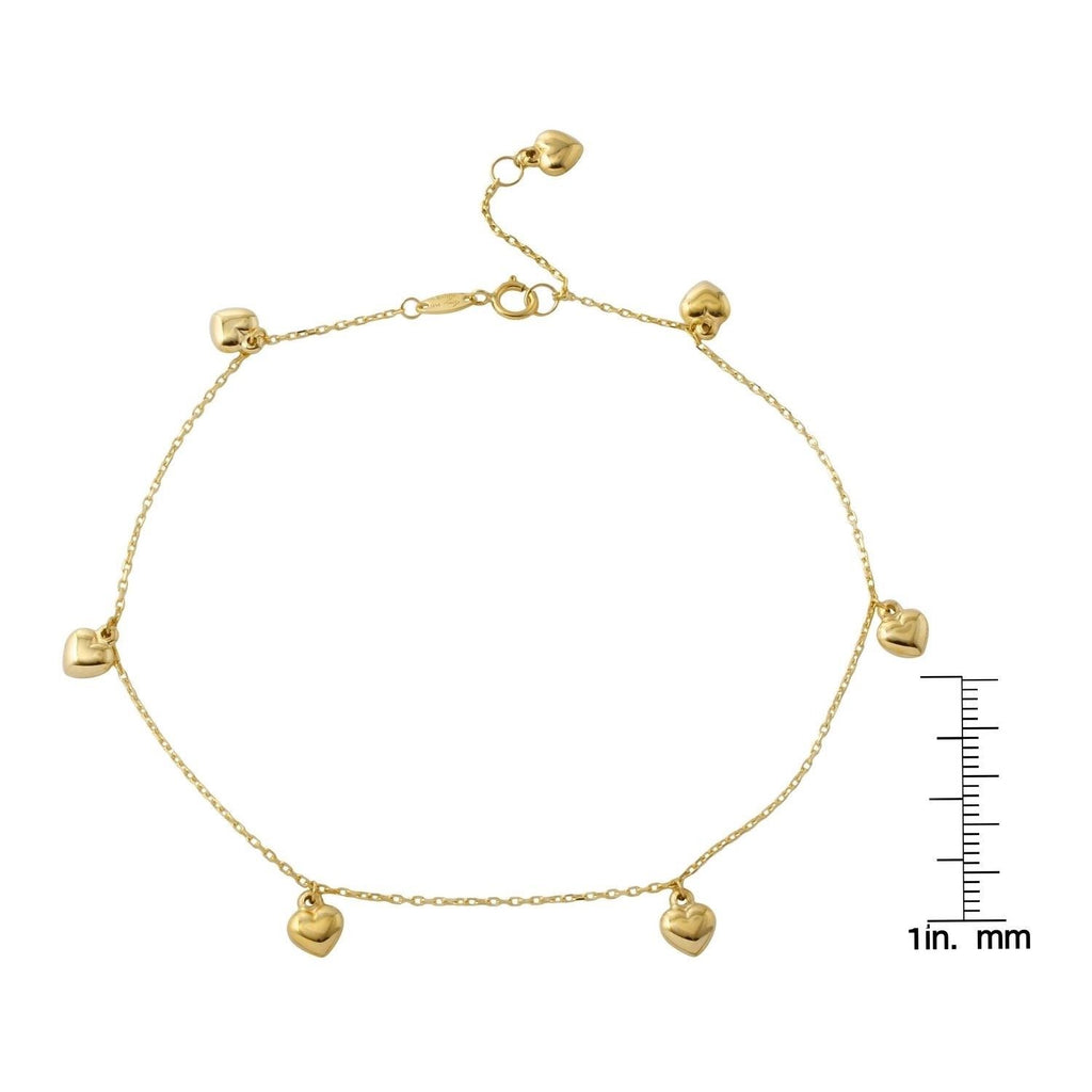 14k Yellow Gold Puffy Heart Rolo Chain Charm Bracelet, 7""
