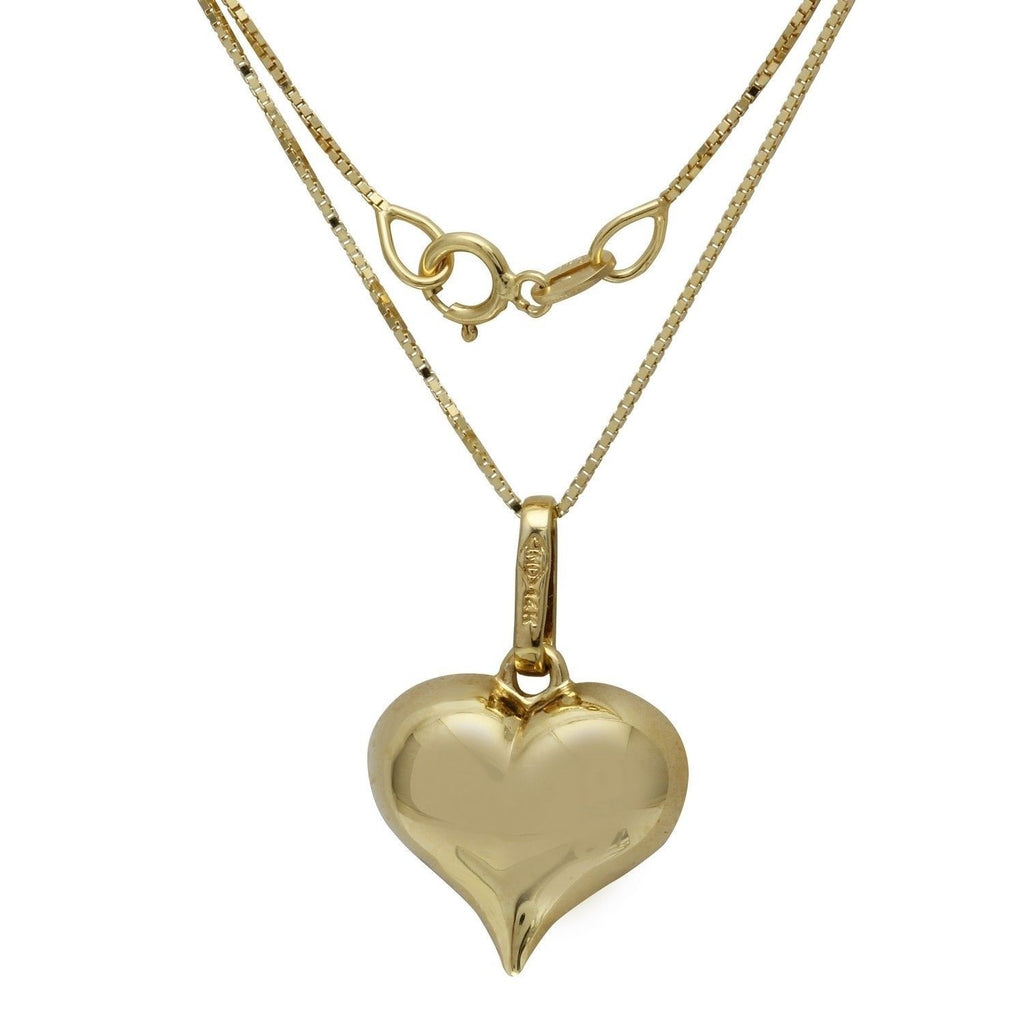 "14k Yellow Gold Heart ""Love"" Pendant Necklace, 18"""