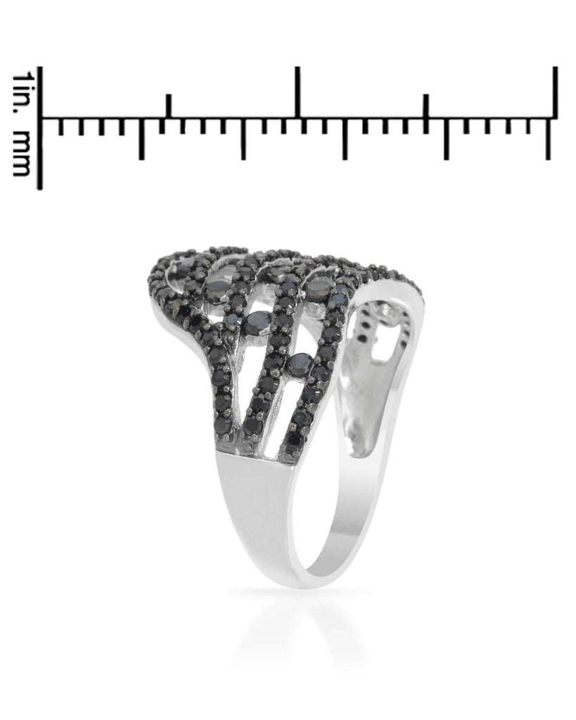 Black Sterling Silver Royal Crown Ring Cubic Zirconia