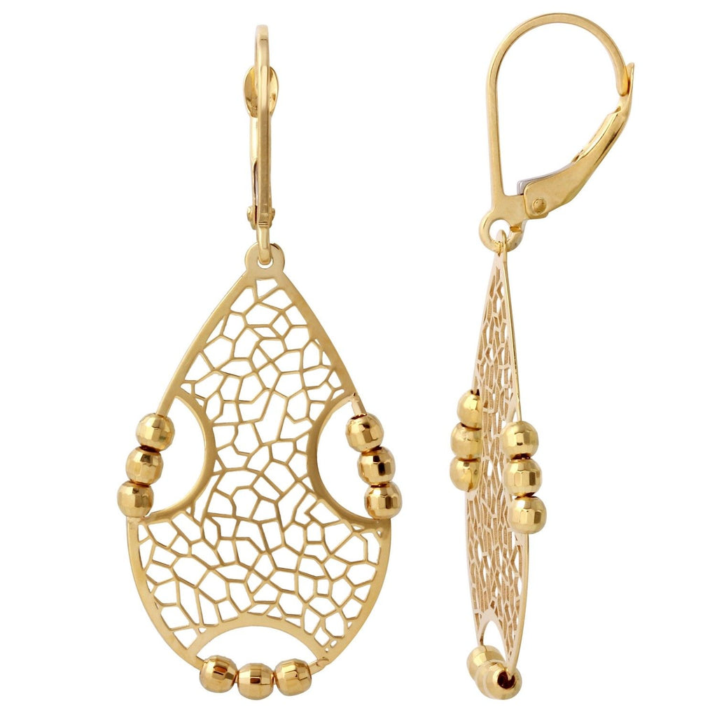 14K Yellow Gold Chandelier Dangle Earrings - Bee Jewels