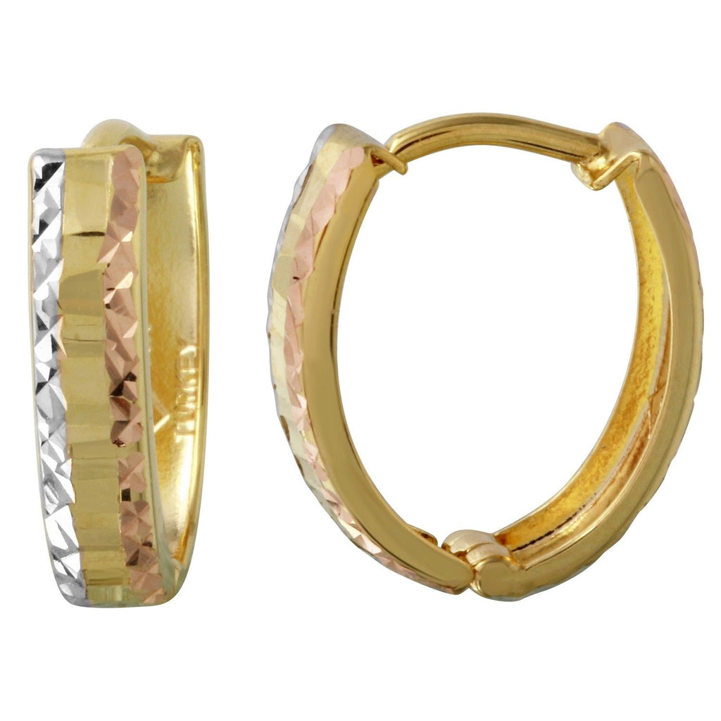 14k Tri-Color Diamond-Cut Huggie Earrings - Bee Jewels