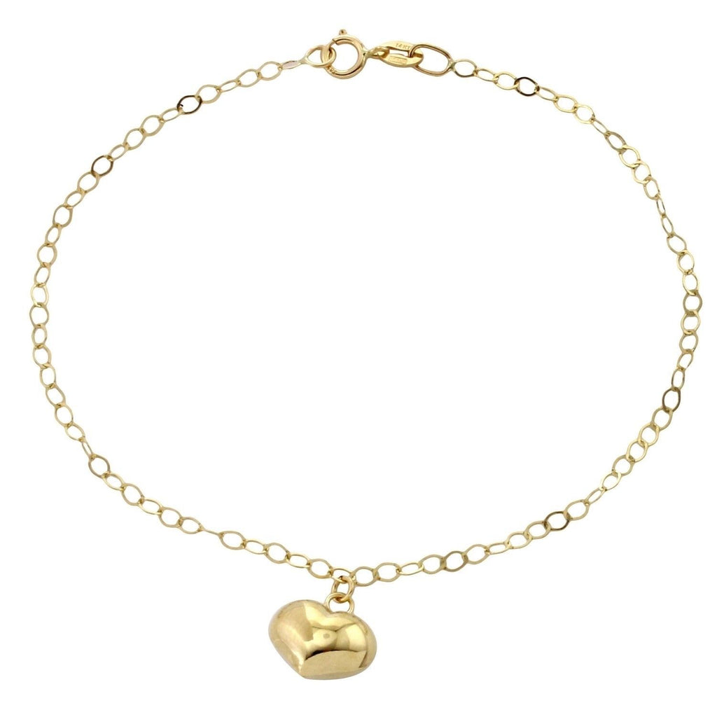 14k Yellow Gold Italian Dangling Puffy Heart Charm Bracelet, 7""