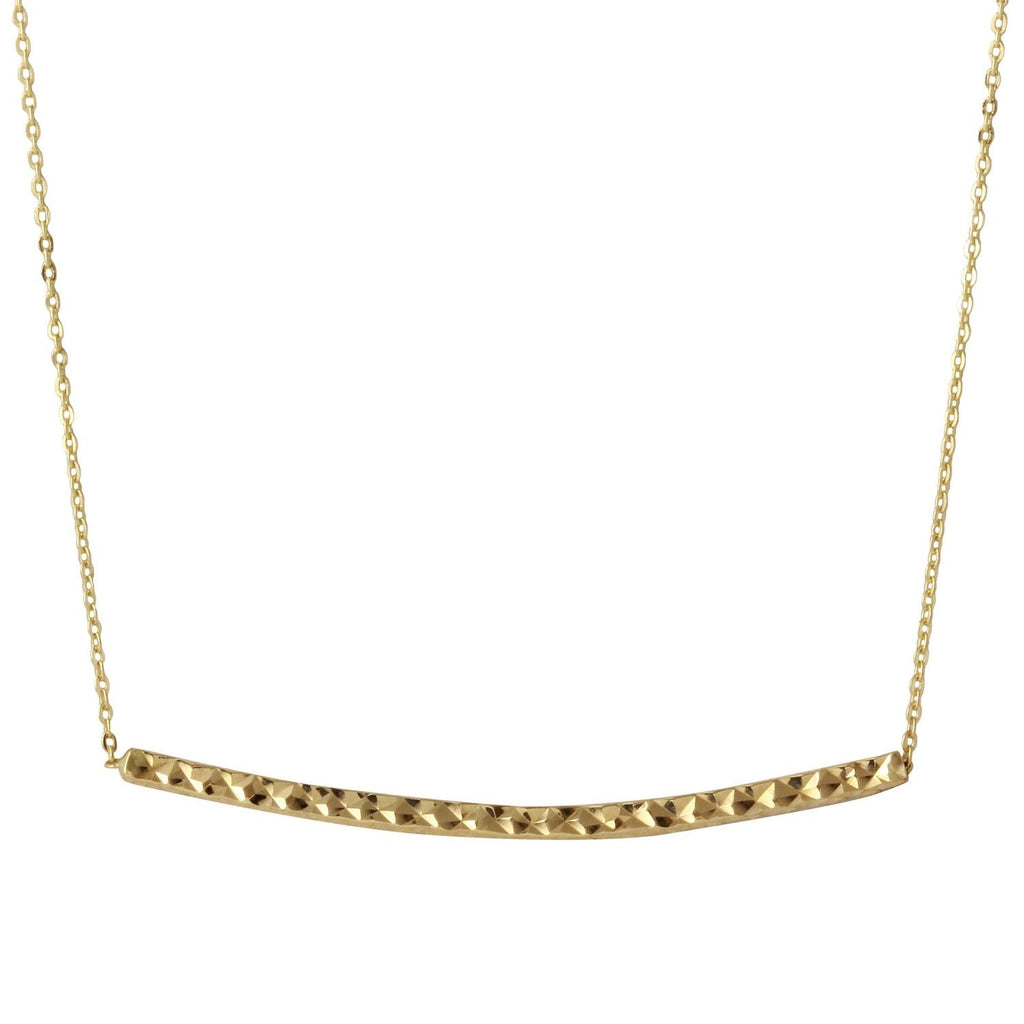 "14k Yellow Gold Diamond-Cut Bar Rolo Adjustable Chain Necklace, 16+2"" Extender - Bee Jewels"