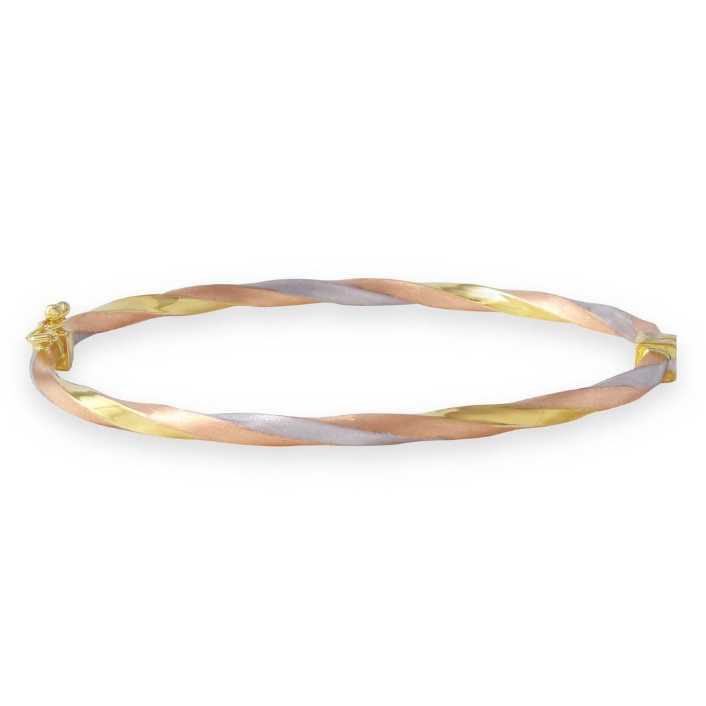14k Tri-Color Gold Twisted Bangle Bracelet