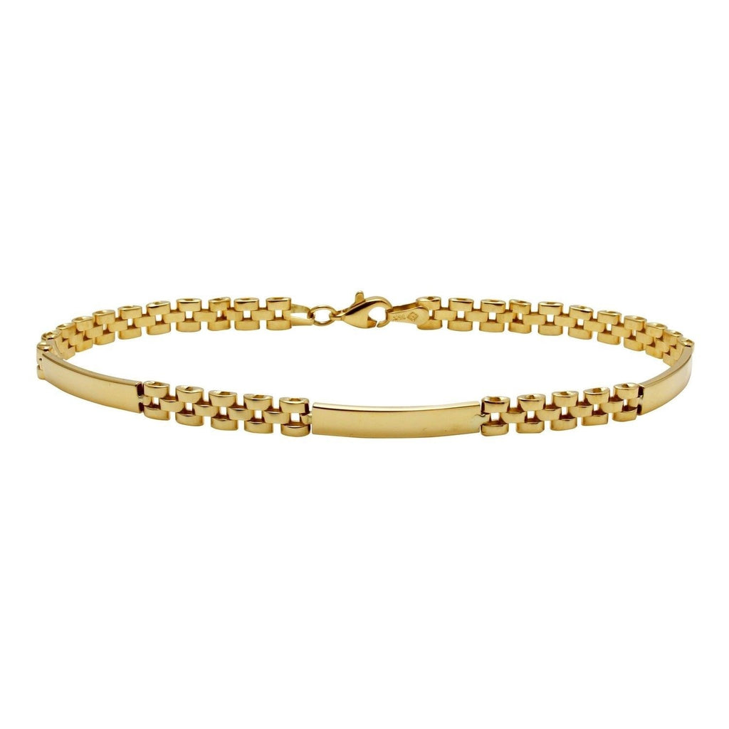 Men's 14k Yellow Gold Fancy Identification Bars Bracelet, 8.5""