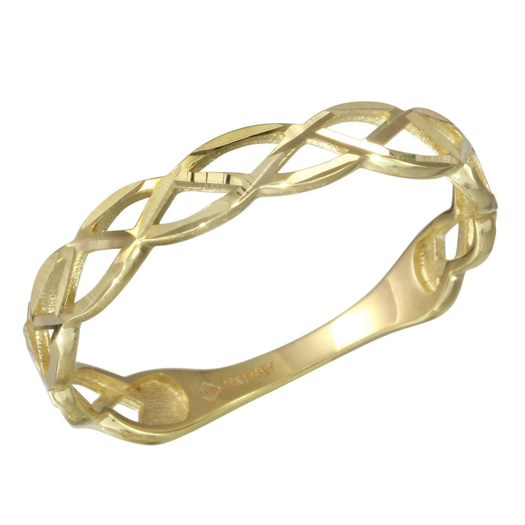 14k Yellow Gold Braided Ring, Size 7 - Bee Jewels