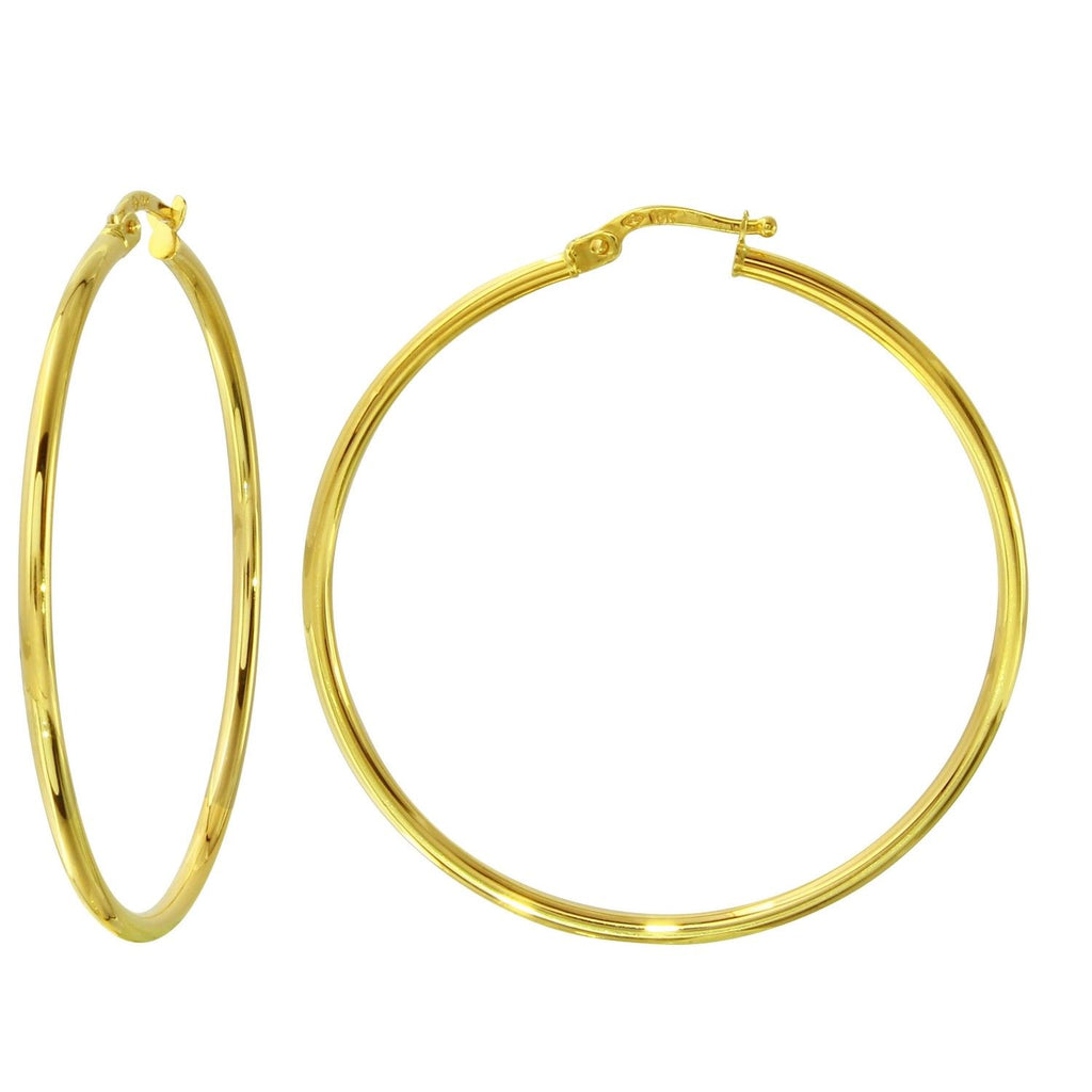18k Yellow Gold 2mm Click-Top Round Hoop Earrings