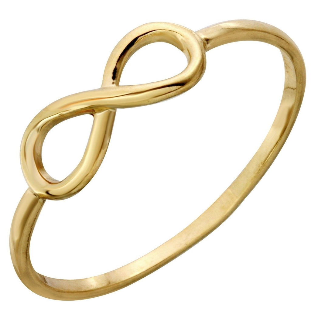 14k Italian Yellow Gold Infinity Ring, Size 7 - Bee Jewels