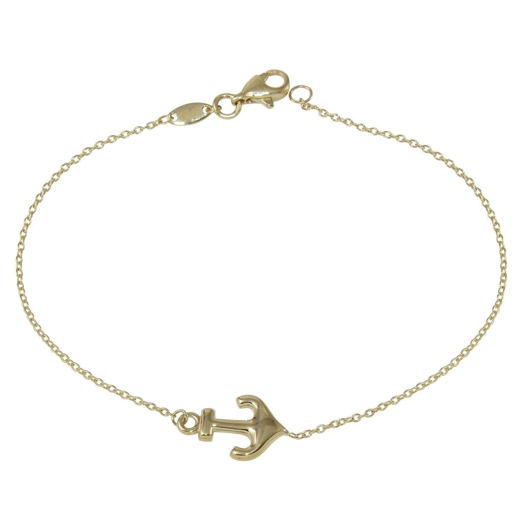 14k Yellow Gold Rolo Anchor Bracelet, 7.25""