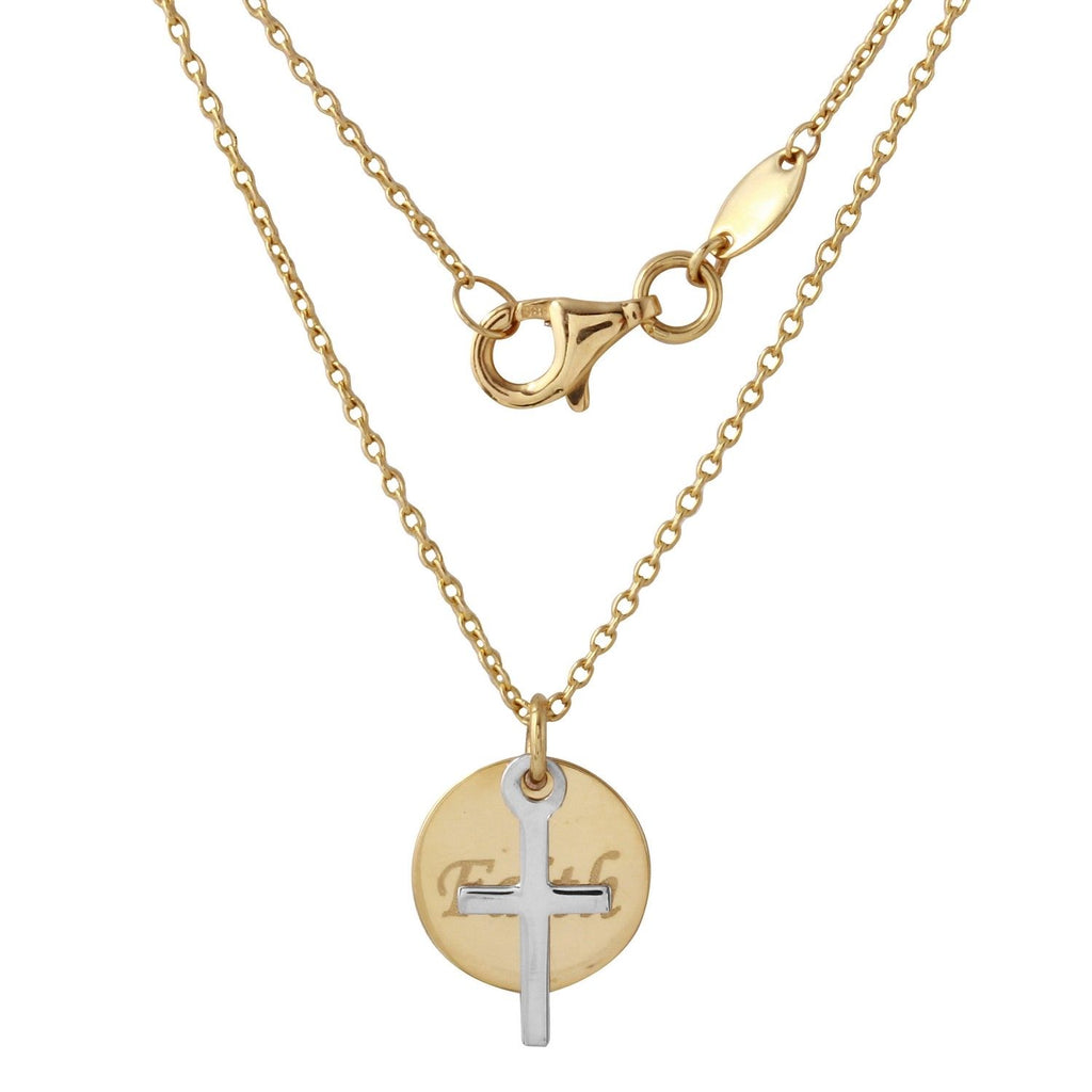 "14k Two-Tone Gold ""Faith"" Cross Round Disc Pendant Necklace, 18"""