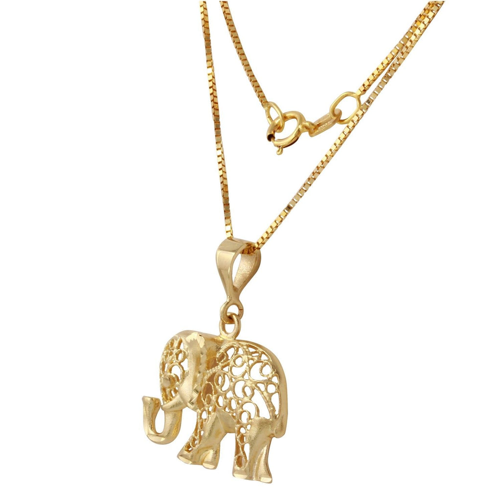 "14k Gold Diamond-Cut Elephant Pendant Necklace, 18"" - Bee Jewels"