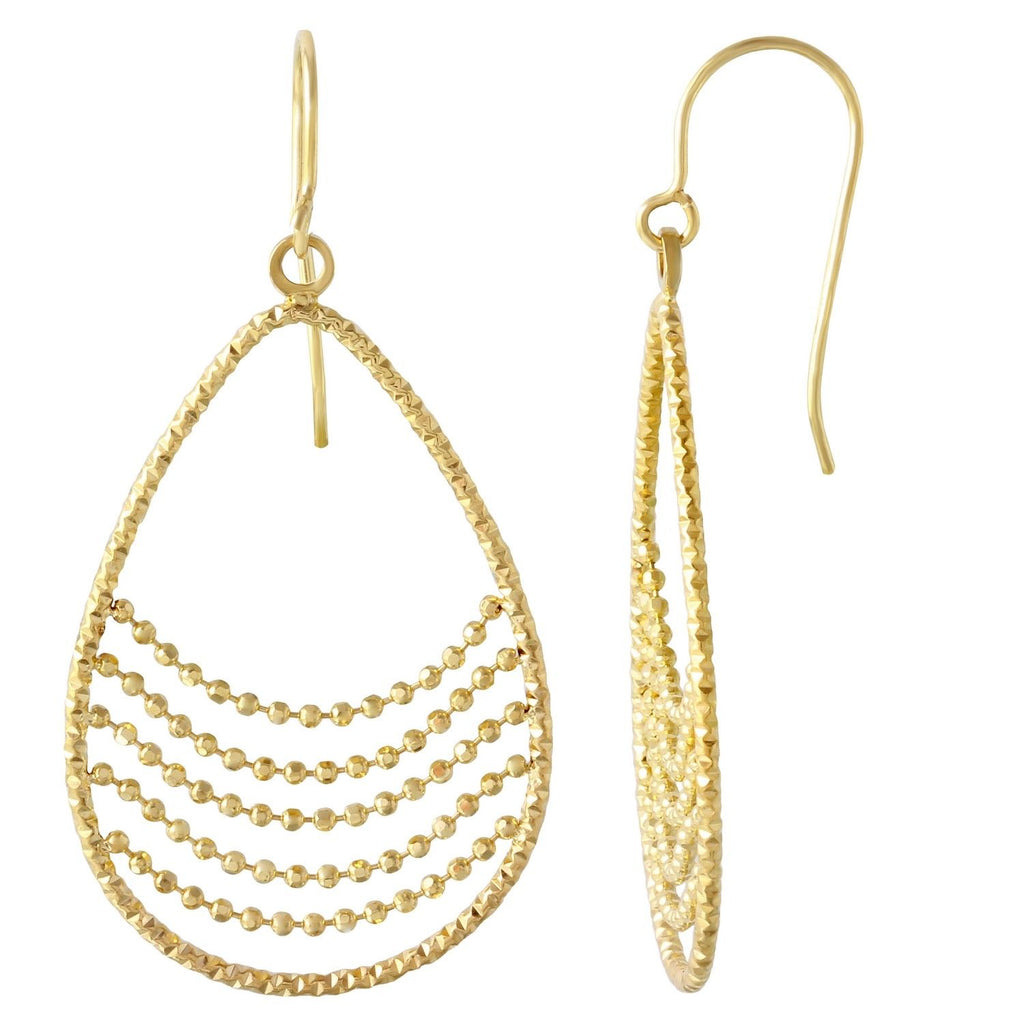 14k Yellow Gold Dangling Drop Earrings - Bee Jewels
