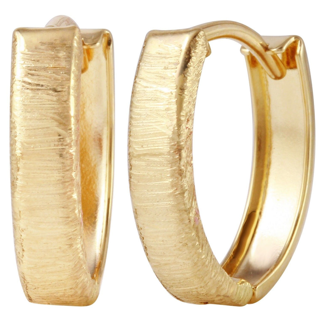 14k Yellow Gold Diamond-Cut Huggie Earrings - Bee Jewels