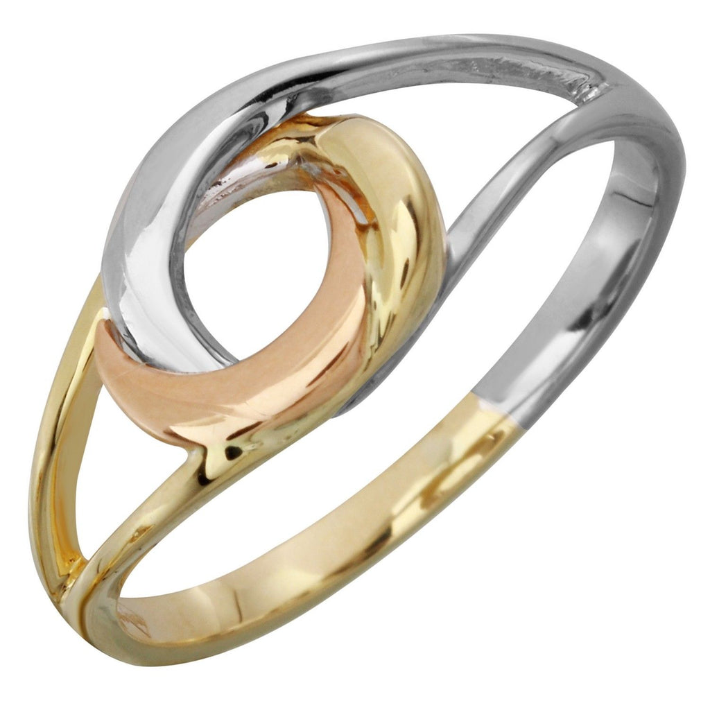 14k Tri-Color Gold Ladies' Love Knot Ring, Size 6
