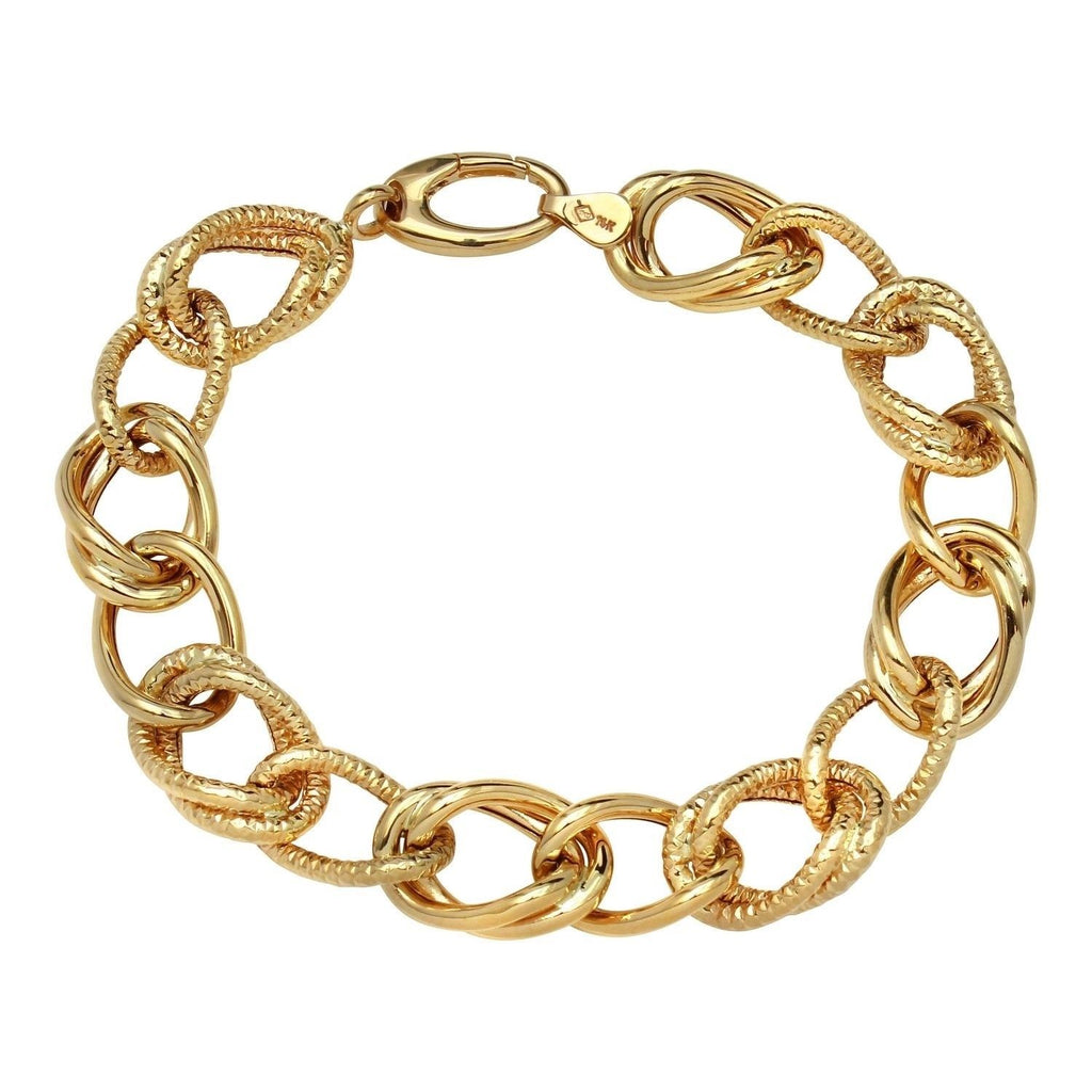 14k Yellow Gold Satin High Polished Link Bracelet, 7.5""