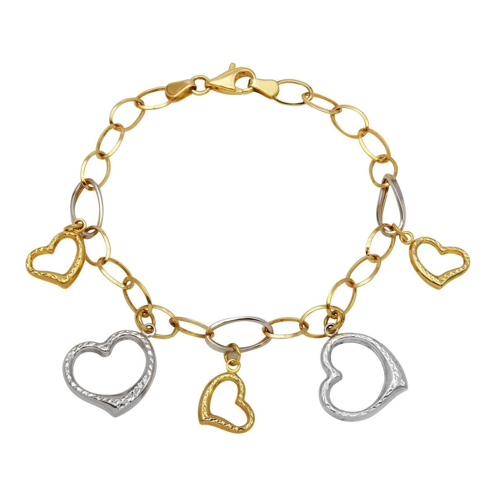 14k Two-Tone Gold Heart Charm Bracelet, 7.25""