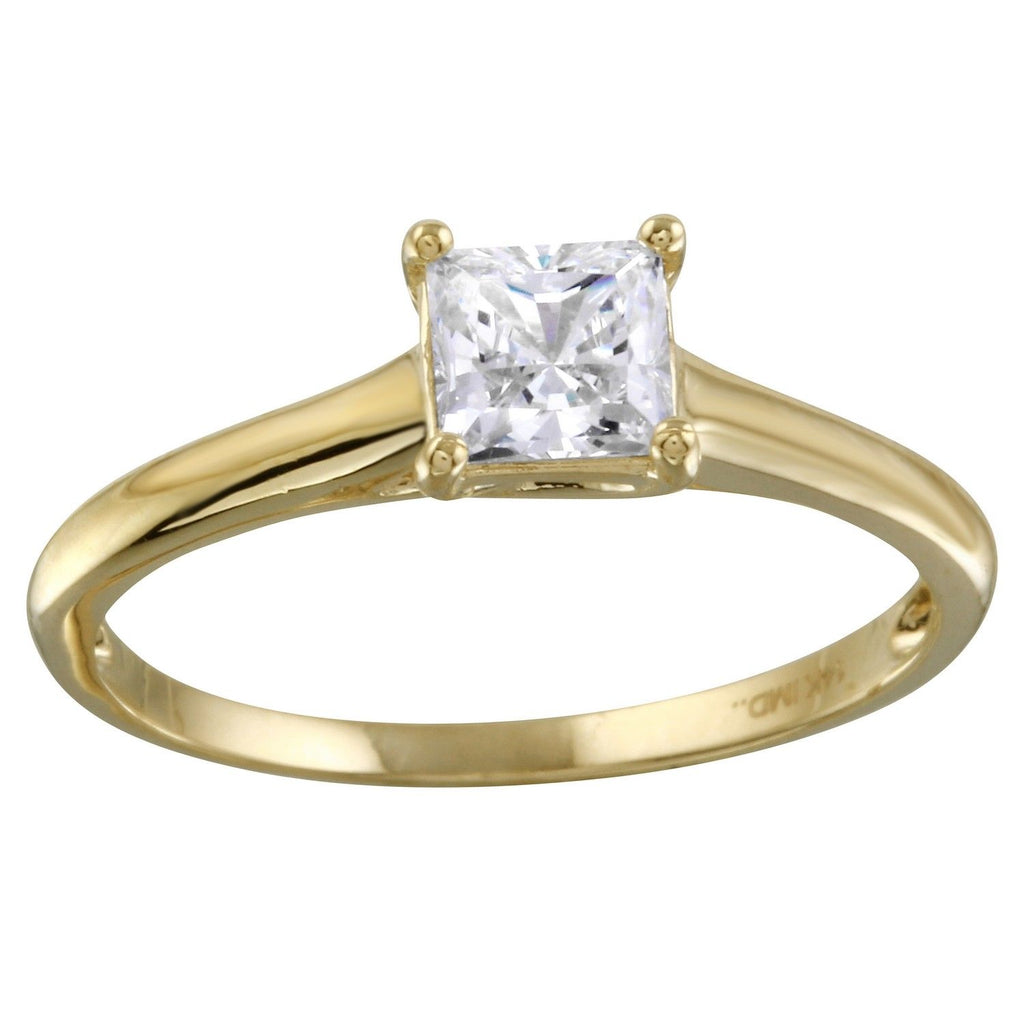 14k Gold CZ Princess Cut Classic Solitaire Engagement Ring - Bee Jewels