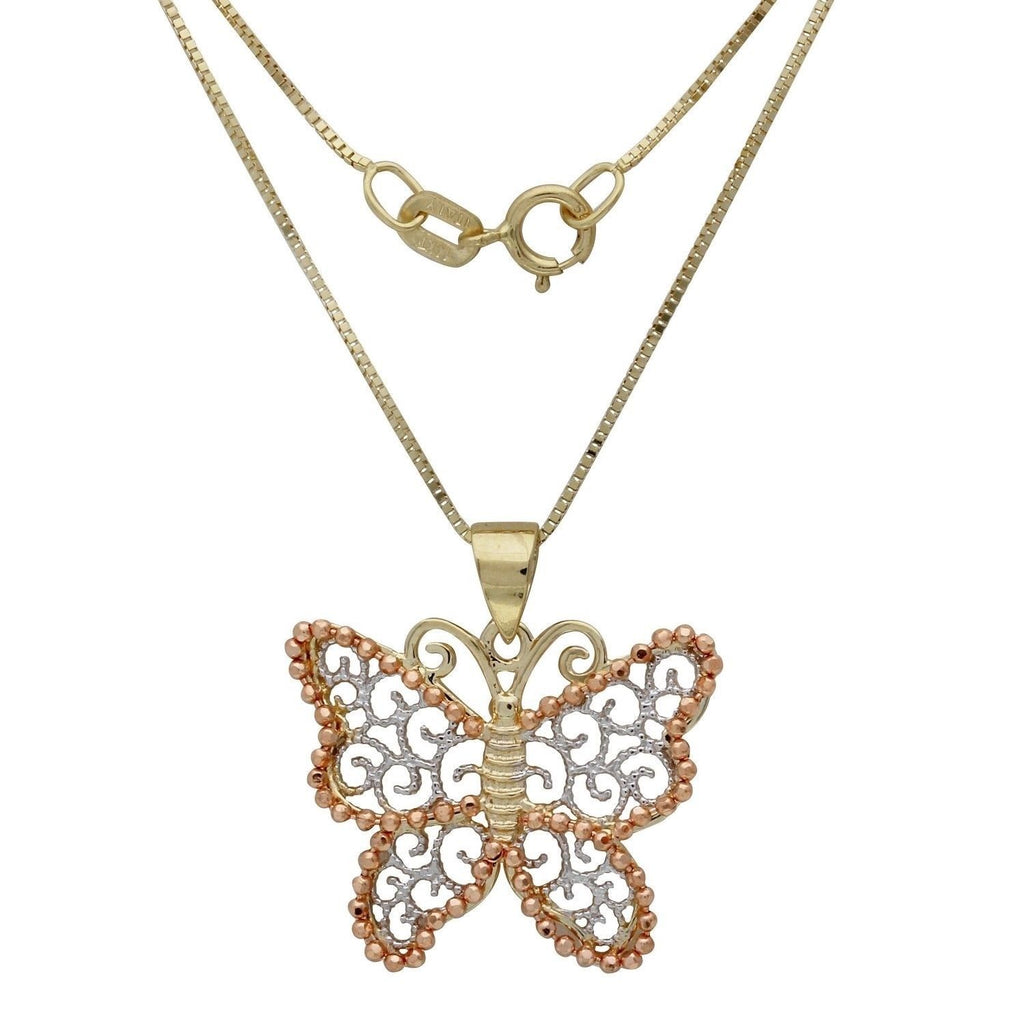 "14k Tri-Color Butterfly Box Chain Pendant Necklace, 18"" - Bee Jewels"