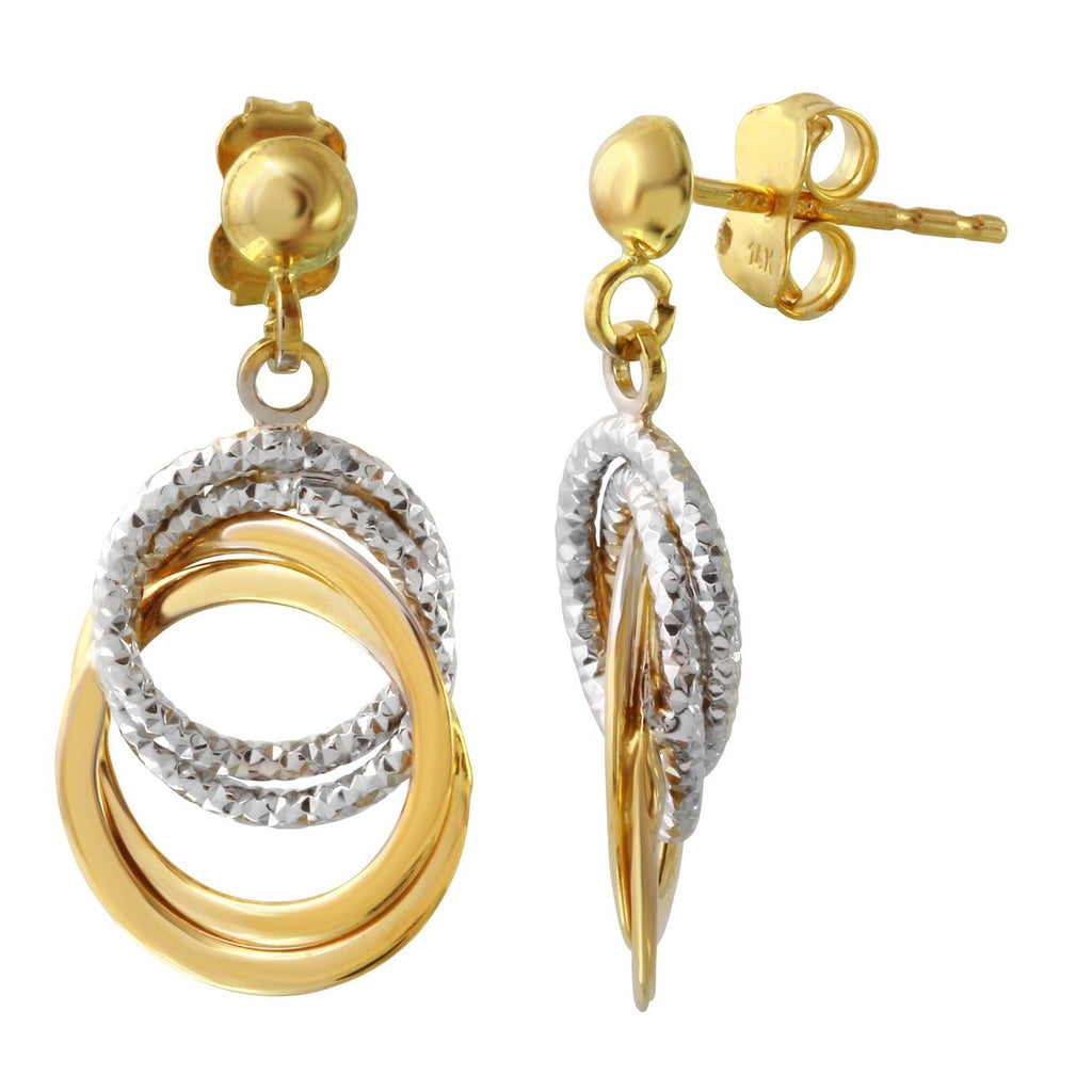 14k Two-Tone Gold Circle Dangle Earrings