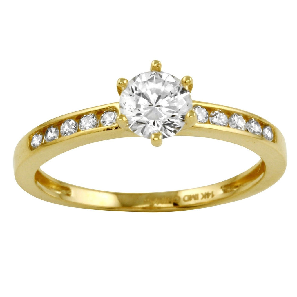14k Gold CZ Round Brilliant Solitaire Channel Engagement Wedding Ring - Bee Jewels