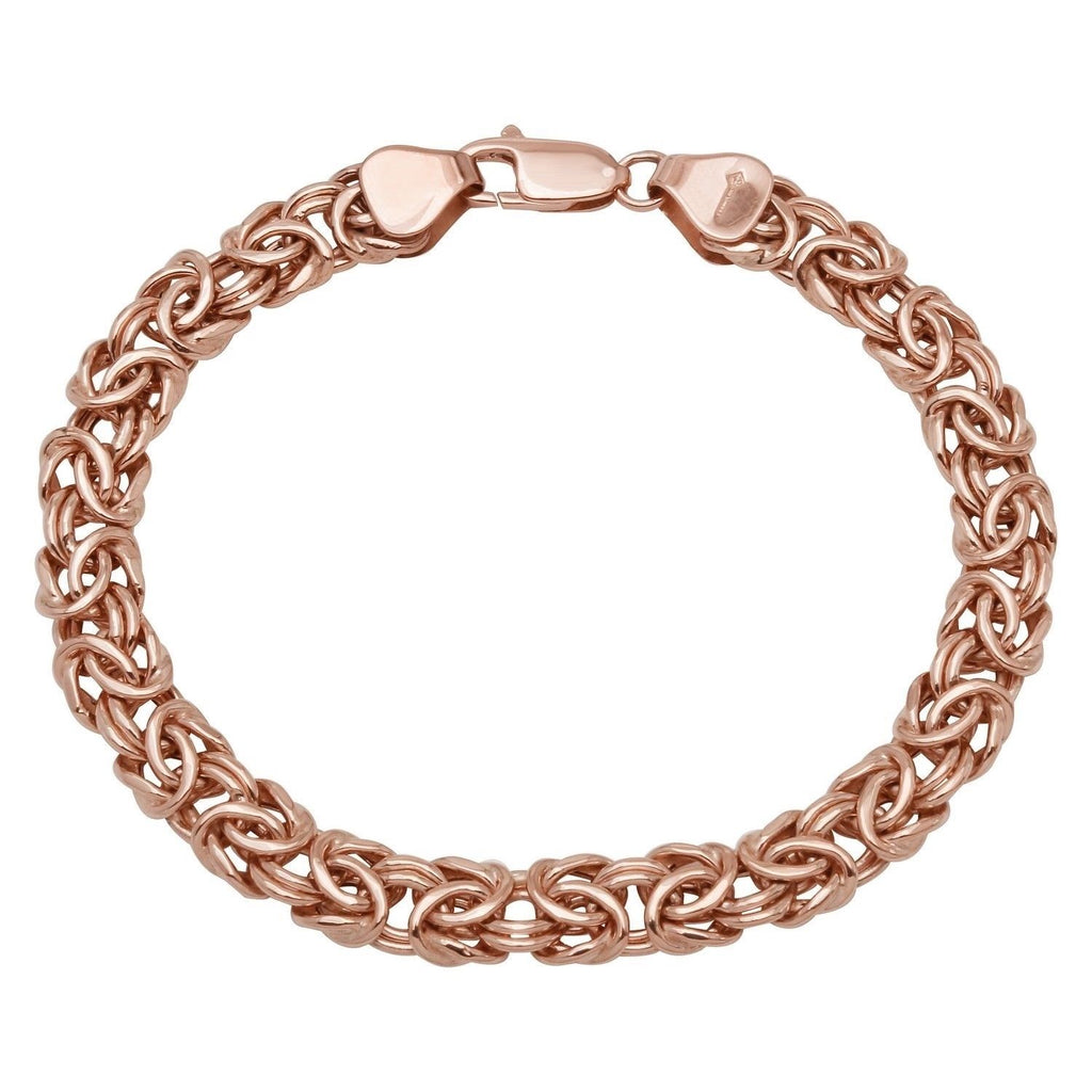 "14k Rose Gold Ladies' Byzantine Bracelet, 7.5"" - Bee Jewels"