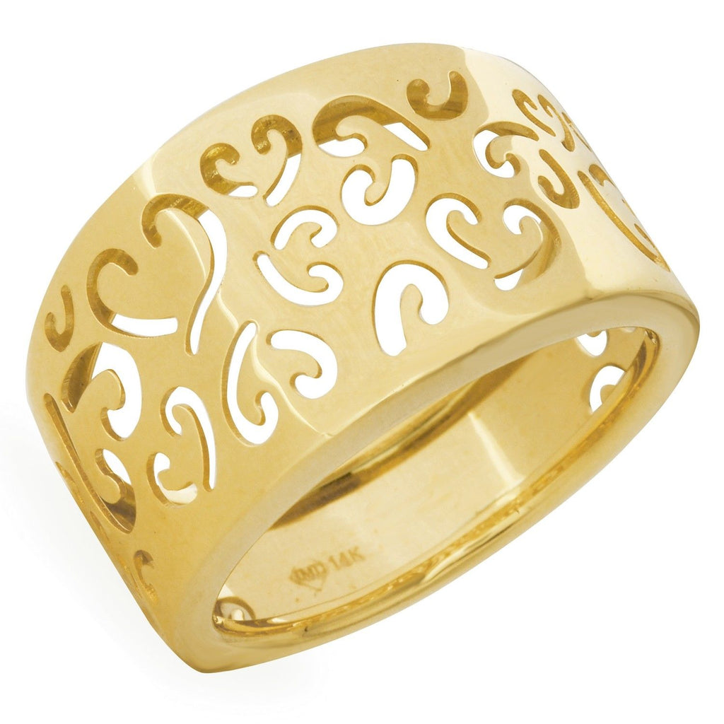 14k Yellow Gold Fancy Heart Ladies Ring - Bee Jewels