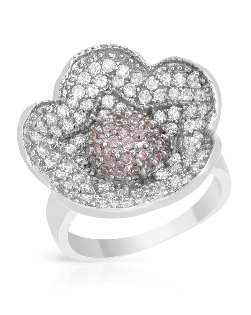 925 CZ Pink Blooming Flower Ring