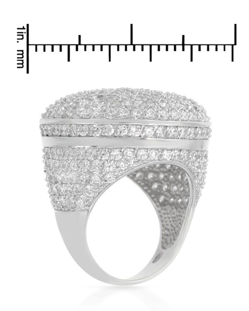 Pave Cubic Zirconia Sterling Silver Circle Mound Ring