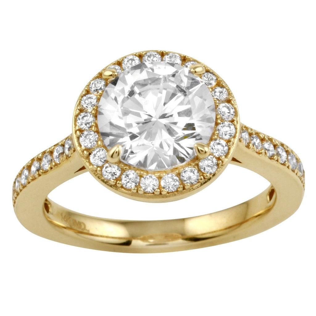 14k Gold CZ Round Brilliant Cut Halo Channel Wedding Engagement Ring - Bee Jewels